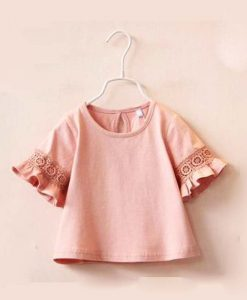 Princess Lace  Kids girls T shirt Half sleeve children t shirts for girl top clothes clothing Summer Spring 1