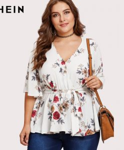 SHEIN Multicolor Plus Size Blouse Shirt For Women Butterfly Sleeve Fashion Belted Wrap Female Autumn Girls Half Sleeve Blouse