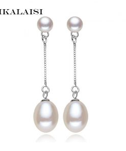 2017 new 100% genuine Natural long earrings fashion jewelry for Women 925 sterling silver pearl Jewelry double earrings gifts