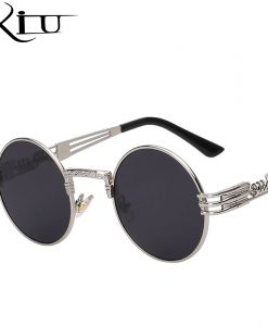 Luxury Metal Sunglasses Men Round Sunglass Steampunk Coating Glasses Vintage Retro Lentes Oculos of Male Sun 1