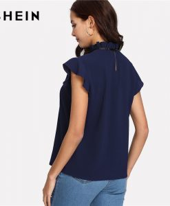 SHEIN Bow Tied Frilled Neck Button Back Shirt Navy Stand Collar Sleeveless Women Chiffon Blouse Spring Casual Work Blouse 1
