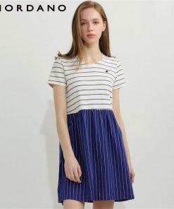 Giordano Women Summer Dress Women Slub Cotton Embroidery Summer Dress Stripe Dress Color Blocking Casual Dress Vestidos