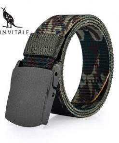 SAN VITALE Automatic Buckle Nylon Belt Male Army Tactical Belt Mens Military Waist Canvas Belts Cummerbunds High Quality Strap