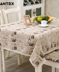 GIANTEX Crown Pattern Decorative Table Cloth Cotton Linen Lace Tablecloth Dining Table Cover For Kitchen Home Decor U1233