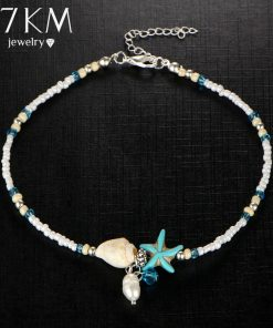 17KM Shell Anklet Beads Starfish Anklets For Women 2017 Fashion Vintage Handmade Sandal Statement Bracelet Foot Boho Jewelry 1