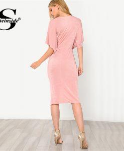 Sheinside Pink V-Neck Twist Front Dress Solid High Waist Half Sleeve Dress 2018 Summer Women OL Work Elegant Dress  1