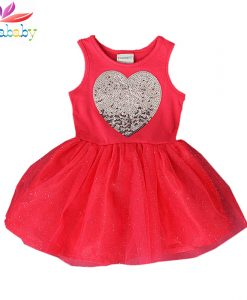 Belababy Girls Dress Summer Cute Heart Sequined Tutu Baby Dress Girls Lace Party Dress For Girls Children Clothing Vestidos Nina