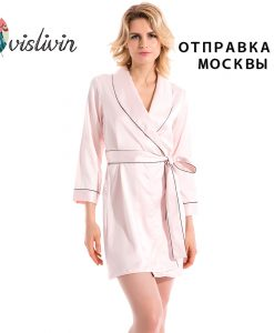 Vislivin fashion womens new full sleeves arrival silk robes pijamas with waistband bathrobes high length sleepwear sale gifts 1