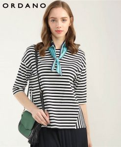 Giordano Women Half Sleeve Tshirt Loose Cutting Female T-shirt Striped T-shirts For Women Fashion Lady Tops