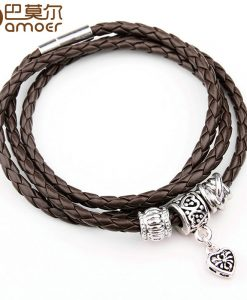Newest Arrival Silver Charm Black Leather Bracelet for Women Five Colors Magnet Clasp Christmas Gift Jewelry PI0311 1