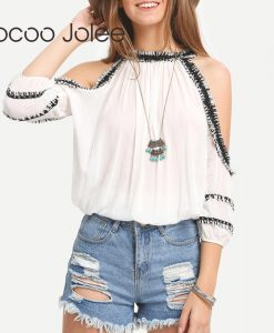 Jocoo Jolee Sexy Strapless Lace Stitching Short Sleeved Off Shoulder Chiffon Tee Shirt Basic Women Blouse 2018 Spring&Summer  1