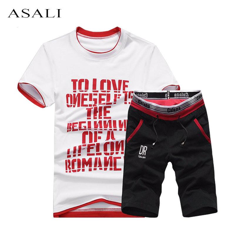 2018 Summer Men Set Mens Tracksuit T-Shirt+Shorts Pants Casual Sweatshirt Men's Sportswear Suits Summer Style Men Set Sweatshirt
