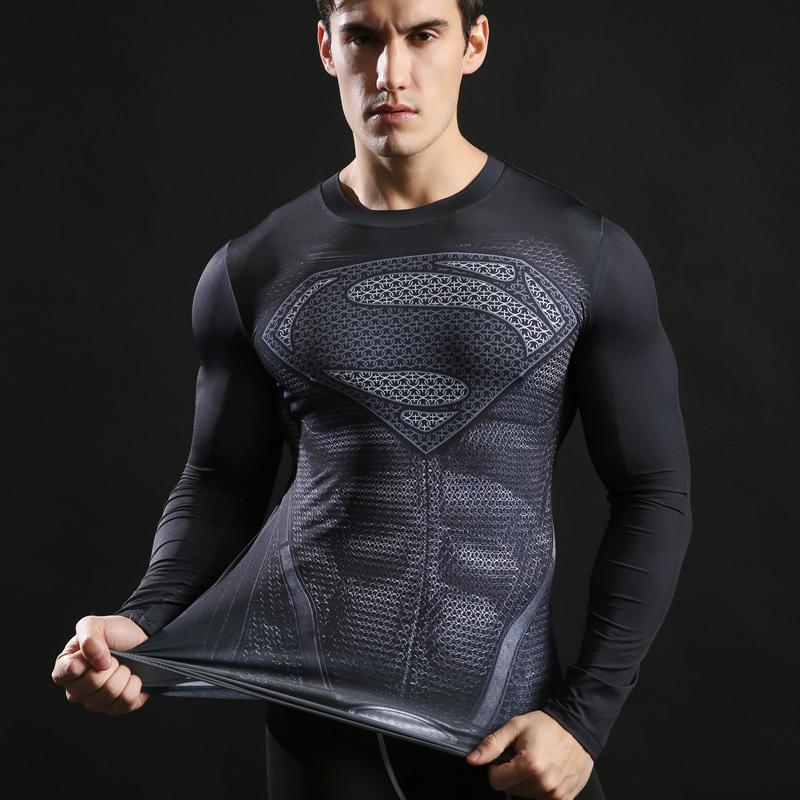 New 2017 Brand Clothing Fitness Compression Shirt Men Superman Bodybuilding Long Sleeve 3D T Shirt Crossfit Tops Shirts S-3XL 1