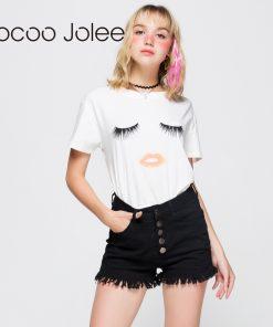Jocoo Jolee Eyelash Red Lips T-shirts Print Letters Female T-shirt Plus Size Summer Tee Shirt Femme Harajuku Shirt Women Tops 1
