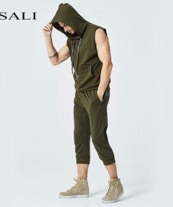 2018 Mens Sleeveless Hoodies Fashion Casual Hooded Sweatshirt Men bodybuilding Tank Top 2 Piece Sets Hip Hop waistcoat vest Tops