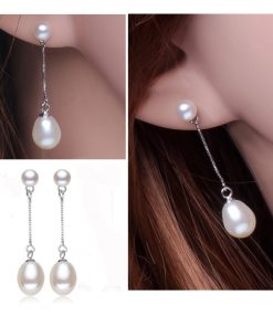 2017 new 100% genuine Natural long earrings fashion jewelry for Women 925 sterling silver pearl Jewelry double earrings gifts 1