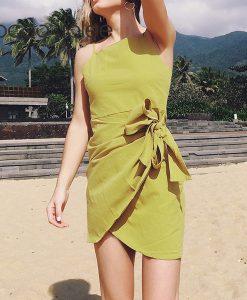 Jocoo Jolee Sexy Spaghetti Strap Beach Dressing for Women Asymmetrical High Waist Mini Dress with Bow Design Women Party Dress  1