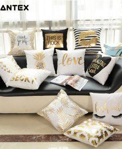 GIANTEX Simple Bronzing Cushion Cover Decorative Pillowcase Home Decor Sofa Throw Pillow Cover 45x45cm U1331