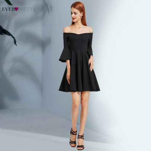 Ever Pretty 2017 New Fashion Women Cocktail Dress Black V-Neck Backless Flare Sleeve Unique Cocktail Dresses EP05883