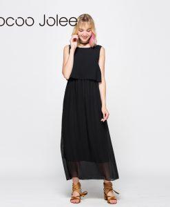 Jocoo Jolee Women Elegant Chiffon Long Dress Floor-Length Empire Dress Ladies Bohemian Style Sleeveless Dress