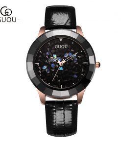 GUOU Ladies Watch Fashion Color Stone Glitter Women Watches Luxury Genuine Leather Diamond Watch reloj mujer relogio feminino 1