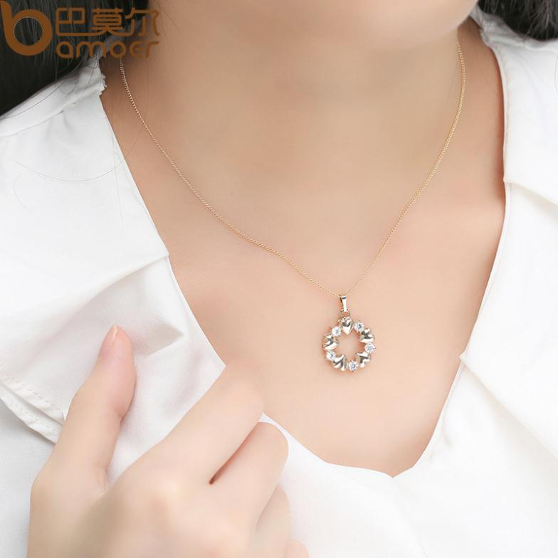 BAMOER Luxury  Gold Color Heart Necklaces & Pendants with AAA Zircon For Women Anniversary Jewelry JIN018 1