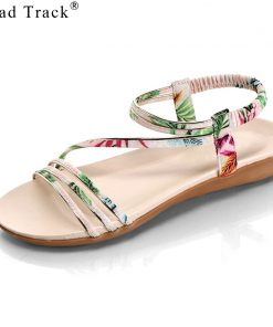 Road Track Women Flat With Open Toe Shoes After The Strap Metal Decoration Beach Shoes Simple Comfortable Sandals XWA1003-5
