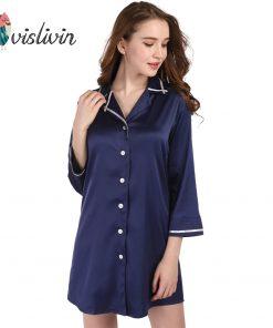 Vislivin Women Long Sleeve Nightdress Silk Sleepdress High Quality Button New Shirt Female Casual Homewear Colorful Sleepwear