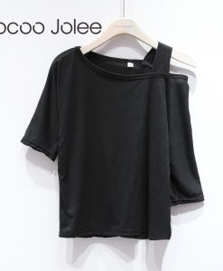 Jocoo Jolee Sexy One Side Strap Women Tops Slash Neck Street Wearings Fashion Loose Style T-Shirt Solid 3 Colors Cloth 2018 New