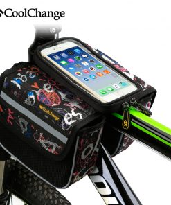 CoolChange High Quality Cycling Bike Front Frame Bag Tube Pannier Double Pouch for Cellphone Bicycle Accessories Riding Bag