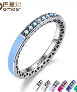 BAMOER 100% 925 Sterling Silver Radiant Hearts Light Pink Enamel & Clear CZ Finger Ring Women Mother's Day Jewelry PA7603 1