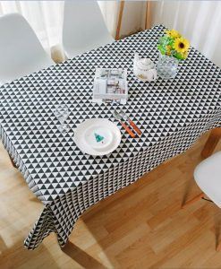 GIANTEX Triangle Pattern Decorative Table Cloth Cotton Linen Tablecloth Dining Table Cover For Kitchen Home Decor U1002 1
