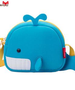 NOHOO Whale Mini Crossbody Bag Waterproof Neoprene Shoulder Bags For Girls Boys School Messenger Bags For Kids