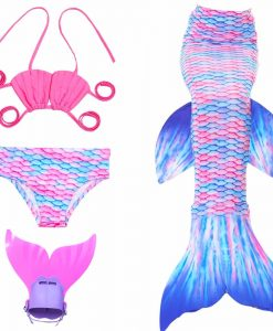 4pcs/Set Girl's Mermaid Tails Swimming Costume,2017 Children Mermaid Tail Costume For Kids Swimming Mermaid Tails With Monofin