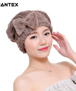 GIANTEX Bowknot Women Bathroom Absorbent Quick-drying Polyester Cotton Bath Towel Hair Dry Cap Head Wrap Hat Salon Towel U1225