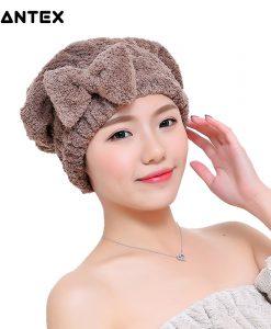 GIANTEX Bowknot Women Bathroom Absorbent Quick-drying Polyester Cotton Bath Towel Hair Dry Cap Head Wrap Hat Salon Towel U1225