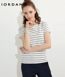 Giordano Women T Shirt Crewneck Quality Slub Cotton Solid Tee Stripes Short Sleeves T-shirt Women Printed Camiseta Feminina