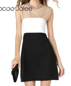 Jocoo Jolee Casual Patchwork Women Dress O-Neck High Waist Dress for Office Lady Back Zipper Design Knee-Length Dress 2018 New 1