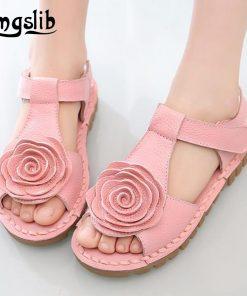 Smgslib Summer Girls Genuine leather Sandals princess flower soft bottom shoes casual Sandals princess kids Beach flat Shoes 1