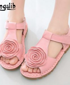 Smgslib Summer Girls Genuine leather Sandals princess flower soft bottom shoes casual Sandals princess kids Beach flat Shoes 1