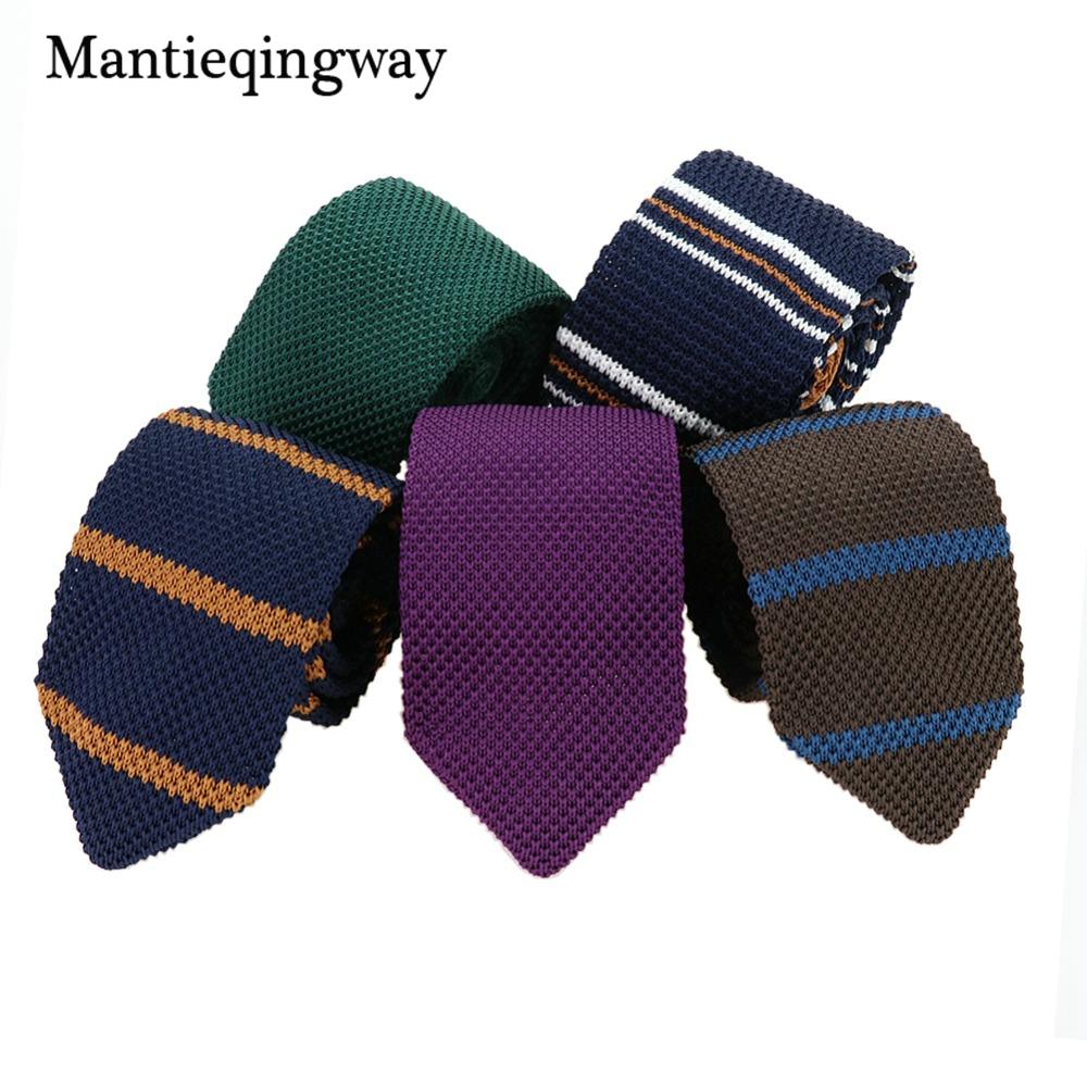 Mantieqingway Men's Suits Knit Tie Plain Necktie For Wedding Party Tuxedo Striped Woven Skinny Gravatas Cravats Accessories