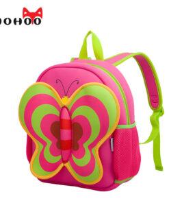 NOHOO Butterfly Waterproof Children School Bags Cartoon Animals School Backpacks For Teenage Girls Large Capacity Baby Backpack
