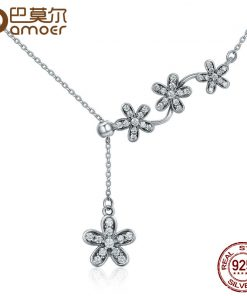 BAMOER Hot Sale 925 Sterling Silver Luminous Daisy Flower Tassel Daisy Pendant Necklace Women Sterling Silver Jewelry SCN178