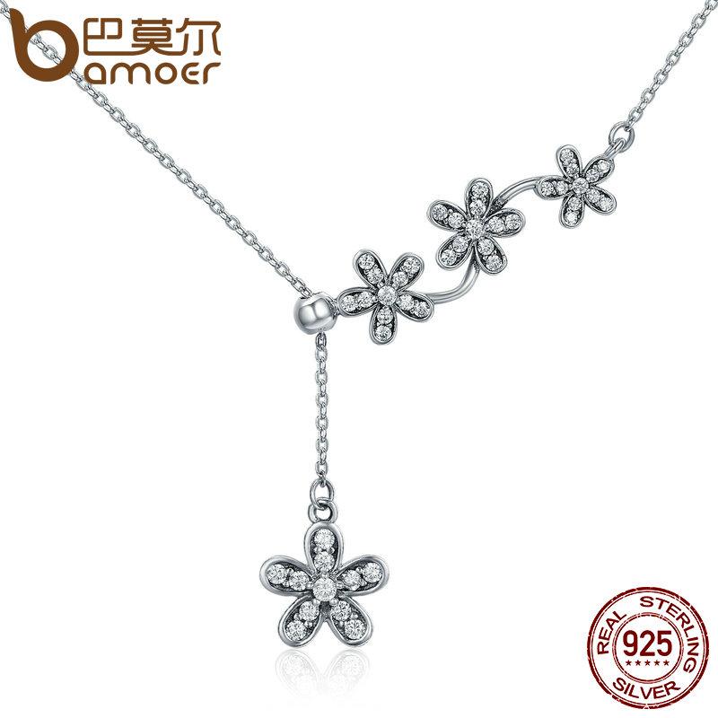 BAMOER Hot Sale 925 Sterling Silver Luminous Daisy Flower Tassel Daisy Pendant Necklace Women Sterling Silver Jewelry SCN178