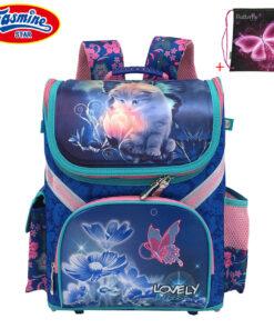 JASMINESTAR Children's Backpack Grade 1-3-5 New Boy School Orthopedic Satchel Animal Bag Cartoon Cat School Backpacks For Girls