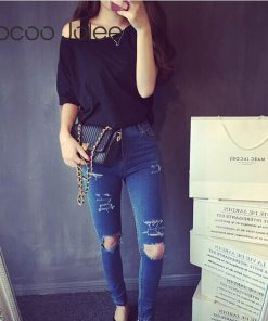 Jocoo Jolee Sexy One Side Strap Women Tops Slash Neck Street Wearings Fashion Loose Style T-Shirt Solid 3 Colors Cloth 2018 New 1