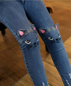 Cute Cartoon Pattern Kids Jeans Winter Autumn Lovely Cat High Quality Children Pants Casual trouses Baby Girls Jeans 1