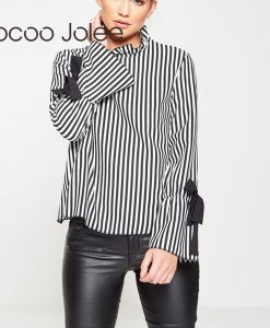 Jocoo Jolee Sexy Backless Striped Blouse for Women Hollow out Lace up Shirts with Flare Sleeves Peter Pan Collars Women Clothing 1