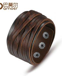 BAMOER Black & Brown Genuine Leather Bracelet With Alloy Buckle Adjustable Fashion Women & Men Bracelets Jewelry PI0337-1