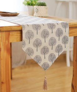 GIANTEX Pastoral Style Tree Pattern Tassel Cotton Linen Table Runner Home Decor U1114 1
